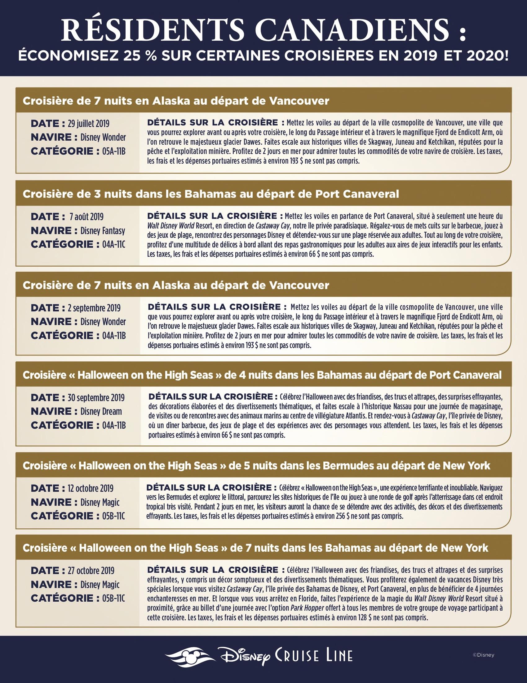 Promotion Résidents Canadiens - Disney Cruise Line