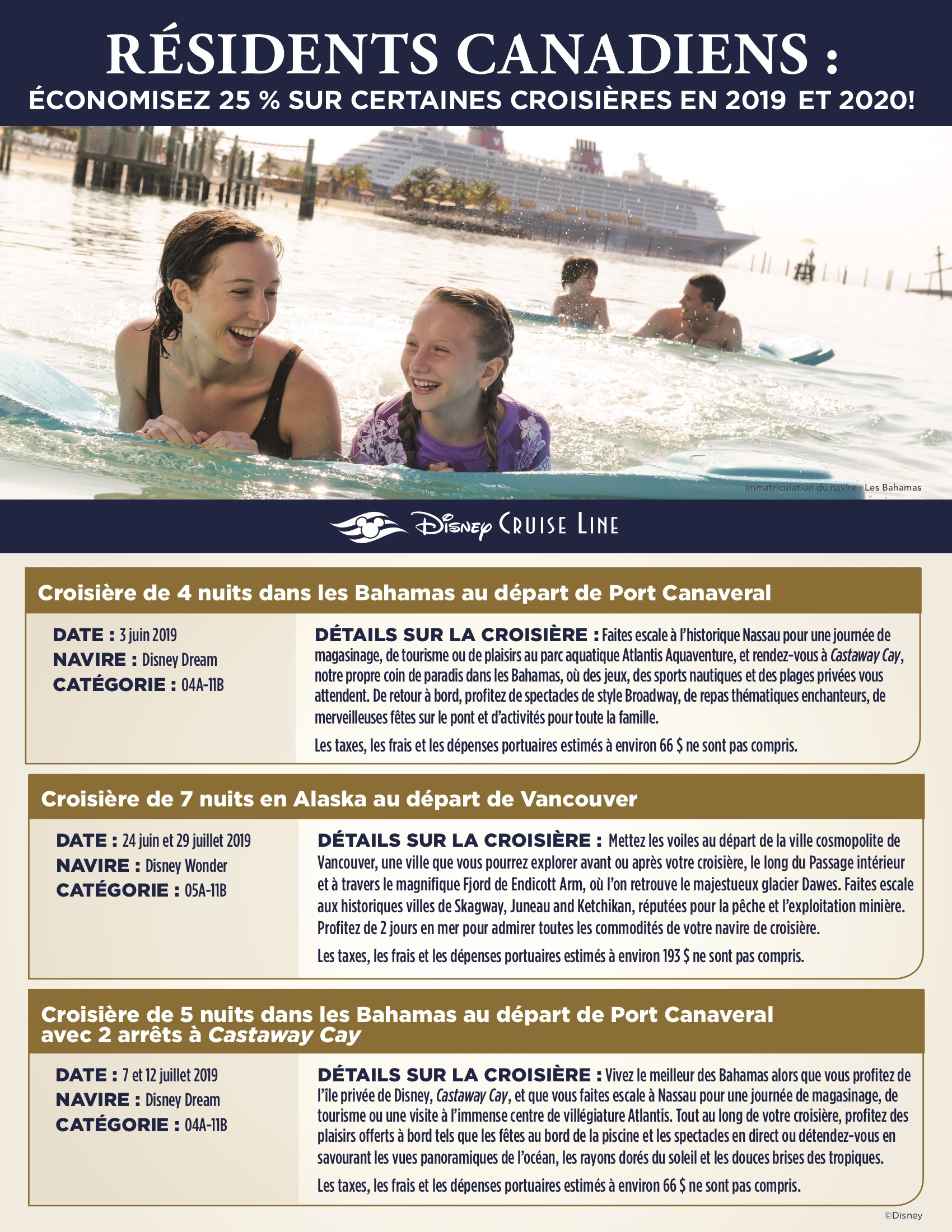 Promotion Résidents Canadiens - Disney Cruise Line
